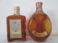 2 bottles - Scotland Scotch Whisky - Dimple 12 years old & Logan's de Luxe - 1970s