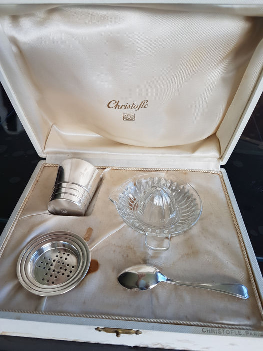 Antique boxed baby gift set for birth or baptism, CHRISTOFLE silversmiths