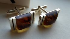 Elegant rectangular cuffinks for men - natural Baltic amber -  colour honey - silver 925 - no pressed - UV test