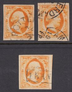 The Netherlands 1852 - King Willem III - First emission - NVPH 3b, 3c and 3d