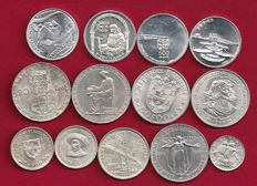 Portugal Republic - 13 Copies - 2 ½ Escudos/5 Escudos/20 Escudos/50 Escudos & 500 Escudos - 1943 to 2000 - Silver