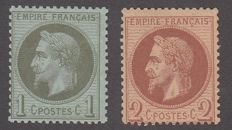 France 1860 – 1c olive and 2c brown-red – Yvert no. 25 and 26