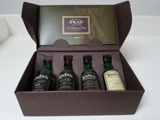 4 miniatures - Ardbeg The Story of Peat - 10, 17, Uigeadail and Kildalton