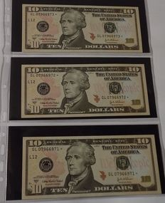 USA - Lot of 17 banknotes including replacements and 13 coins (12 silver coins and 1 copper coin)
