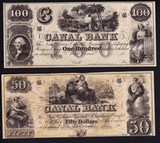 USA - Obsolete Currency - 5, 10, 20, 50 and 100 dollars 1800's - New Orleans Canal & Banking Co.- Remainders