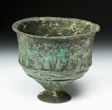 A Bronze age Chalice from the Sackler collection - 79mm tall/89mm wide