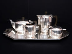 5 parts tea &coffee set with tray in Art Deco style, Italy, SIAP 1920-1929