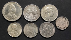Prussia, Hamburg, Third Reich, Austria - Lot of 7 silver coins.