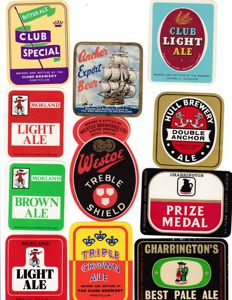 Collection of 128 old English/Scottish beer labels