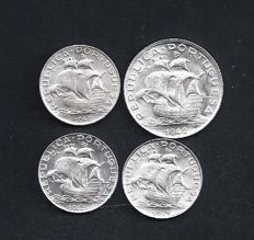 Portugal Republic - 4  Copies - 2 ½ Escudos 1942/1943/1946 & 5 escudos 1942 - Silver