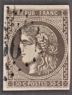 France 1870 – 30c brown signed Brun – Yvert no. 47