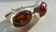 Elegant oval cufflinks for men - natural Baltic amber - colour cognac - silver 925 - no pressed - UV test