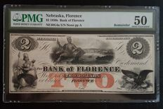 USA - Obsolete Currency - 2 $ 1850's - Bank of Florence, Nebraska - Remainder