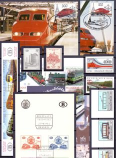 "Belgium 1960/2016 - Composition regarding the theme ""Railways"", with cards, imperforate stamps and sheets."