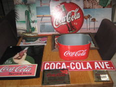 Beautiful Coca Cola collection: 3 original mirrors, 3 advertising signs, 1 name sign + 1 coca cola cooler