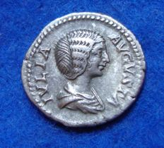 Roman Empire - Silver Denarius of Empress Julia Domna, wife of Septimius (170–217 A.D.) reverse PIETAS (p720)
