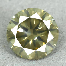 Diamond – 1.01 ct, Natural Fancy Deep Yellowish Green Si1