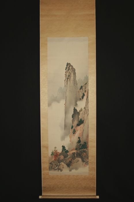 "Scroll painting - ""Mt.Kongo-san, Misty mountain"" -  signed Token 東軒 - Japan - 19th century"