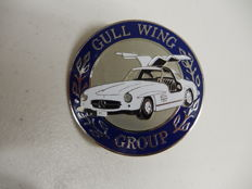 Vintage Chrome and Paint Mercedes Gull Wing Group Car Club Badge Auto Emblem complete with fixings