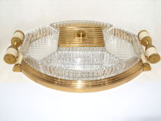A beautiful Art Deco serving tray with 5 glass bowls