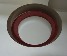 Designer unknown - XL ceiling light in satin glass with two metal disks