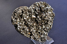 Crystallized and polished heart or sparkling Pyrite -