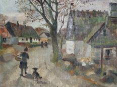 Ludvig Jacobsen (1890-1957) - Village girl and dog