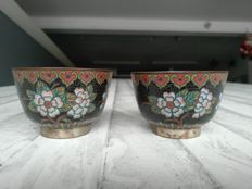 Pair of cups, cloisonné enamel on copper - China - 19th century