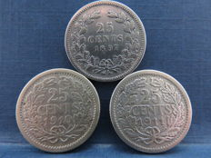 The Netherlands - 25 cents 1897, 1910 and 1911 Wilhelmina - silver