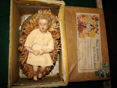 Antique wax baby Jesus doll in original box, France