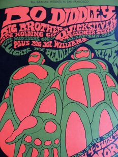Bill Graham Dance Concert Poster Bo Diddley and Janis Joplin