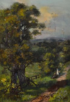 English School (19th century) - Figures resting on a country path