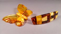 Vintage Brooch Butterfly and mosaic hair brooch made of 100% Genuine Baltic Amber, 13 grams