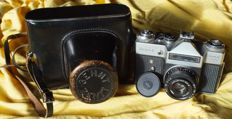 Old camera ZENIT - E with imprint OLYMPIA 80 MOSKVA