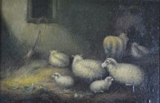 Continental School (19th century) -  Sheep and goat in a barn (a pair)