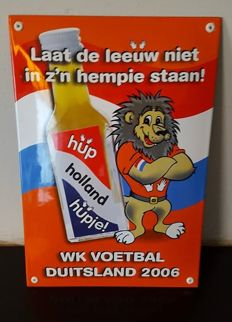 Spherical enamel advertising sign Hupje wodka - world cup football Germany 2006
