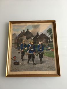 Painted WW1 battle scene