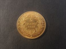 France - 5 francs 1859 - A - Napoleon III - gold
