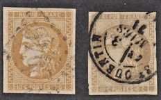 France 1870 – 10c bistre (2 shades to be studied) including signed Calves – Yvert no. 43A and 43B