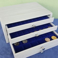 Grey coin cabinet with 4 drawers - Trays including accessories for numismatics Coins & More