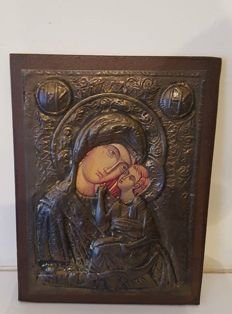 Theotokos (Virgin Mary),  -  Icon with copper oklad