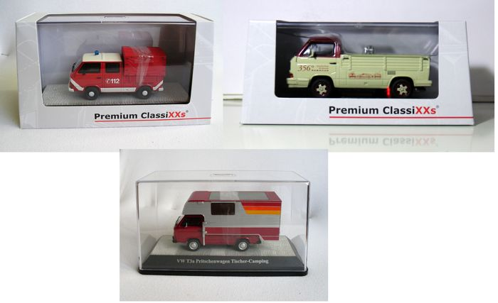 Premium ClassiXXs - Scale 1/43 - Lot with 3 models Volkswagen T3a DC Fire Department. T3b pickup Porsche and T3a pu with camper