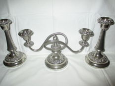Beautiful Silver plated Candelabra with two silver plated matching Candle stands. (Lanthe)