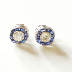 Vintage Original diamond solitaire 1940's earrings with fine sapphires.