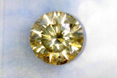 Fancy Greenish Yellow -  1.09 ct - SI2 - Excellent Cut – * NO RESERVE PRICE *