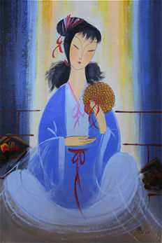 Oil painting of beauty《林風眠-仕女》 - China - late 20th century