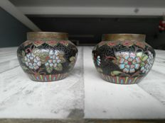 pair of pots, cloisonné enamel on copper - China - 19th century
