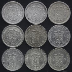 The Netherlands – ½ guilder 1910/1930 Wilhelmina (9 different coins) – complete, excluding pearl variant - silver