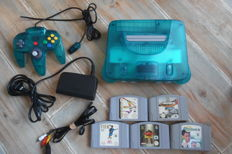 Nintendo 64 ice blue whit control + 5 games