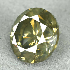 Diamond - 1.26 ct, Natural Fancy Dark Greenish Yellow I1, low reserve price
